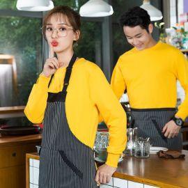 秋冬款快餐火锅店服务员长袖圆领网咖超市西餐饮蛋糕咖啡厅工作服