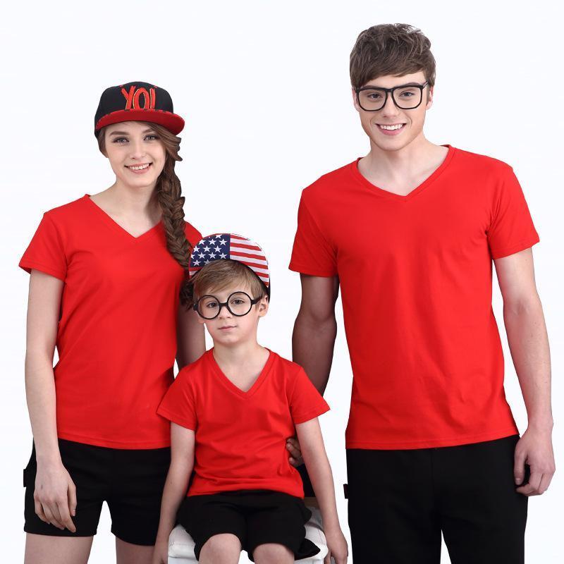 2018夏季时尚V领短袖纯棉幼儿园班服亲子运动T恤团队队服定制logo