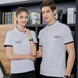 立领工作服t恤定制印logo 短袖团体装文化广告polo衫工衣打字刺绣