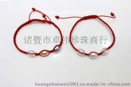 卓伟珍珠 淡水珍珠手链 8mm米型红线编织手链 150221