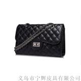 廠家定製菱格鏈條單肩包鎖釦皮包外貿PU女包