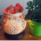五彩花边瓶陶瓷水晶盐灯 铁艺盐灯 工艺盐灯 雕刻型盐灯自然型