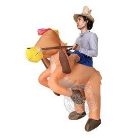 厂家定制批发万圣节化装舞会道具 成人款西部牛仔充气服装 骑马衣