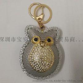 厂家直销印花格子PU皮质镶钻猫头鹰钥匙扣包包挂件吊饰批发