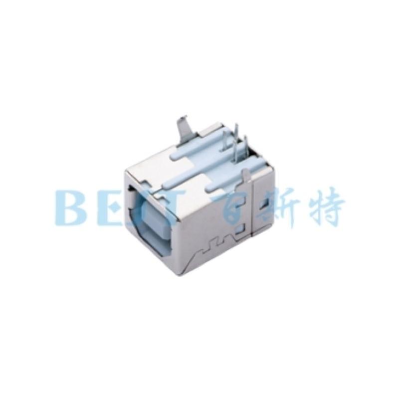 供应USB B型插座 90度插板方形USB接口