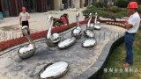 不锈钢天鹅|鹅蛋雕塑效果图碧桂园小区指定制作厂家