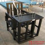 白色板鐵質審訊椅,鐵質方形審訊椅,方形鐵質加固審訊用椅