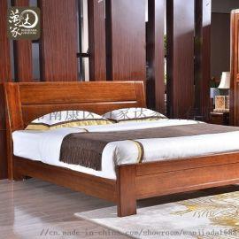 新中式胡桃木实木双人床 卧室实木床9025特价款