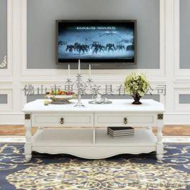 美式乡村复古茶几客厅家具现代简约方形茶几桌白色