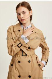服装进货怎么贴自己的品牌【现货】紫月怡人毛呢风衣