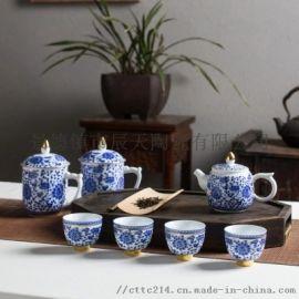 送人泡茶高档茶具套装 釉下彩中式陶瓷茶具