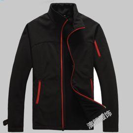 定做黑色工作服冲锋衣男女保暖单层软壳衣休闲立领风衣外套印logo