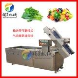 输送带可翻转清洗机 蔬菜水果臭氧消毒气泡清洗机