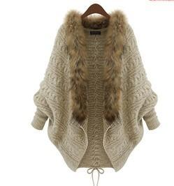 秋冬裝新款女裝針織開衫斗篷披肩蝙蝠衫