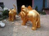 深圳玻璃钢金色大象雕塑