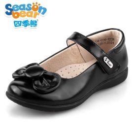 四季熊2016春秋新款中大童公主鞋**白色校园鞋真皮单鞋演出鞋子