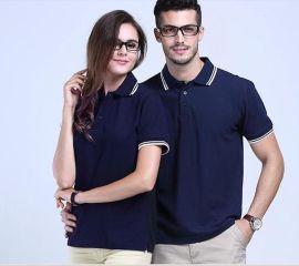 企業工作服定做夏季短袖翻領間色拼領POLO衫電信營業T恤衫加LOGO