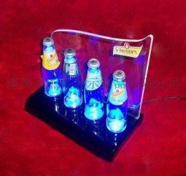 深圳专业生产:压克力酒瓶展示架,LED发光台架