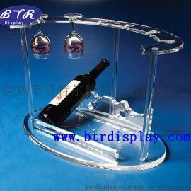 亚克力红酒架透明酒杯架有机玻璃酒瓶展示架