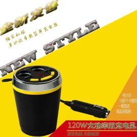 厂家直销 车载蓝牙车杯多功能发射器 车杯式双USB车载免提发射器
