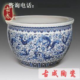 青花瓷 手绘陶瓷大缸 景德镇艺术陶瓷缸 酒店装饰落地陶瓷大缸厂家直销