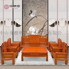 檀明宮紅木傢俱紫檀花梨沙發茶几八件套組閤中式國色天香實木沙發