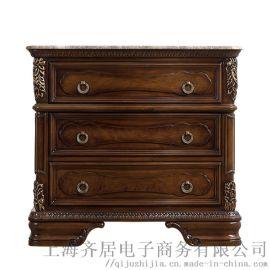 欧式家具工厂 齐居置家欧式实木雕花复古床头柜