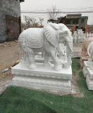石雕大象-漢白玉風水象-鎮宅招財石象擺件-匠珂石業