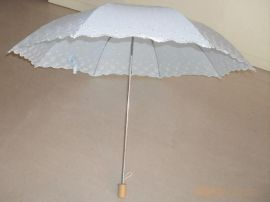 兩折繡花虎骨外翻傘 女式繡花傘 女款花邊遮陽傘