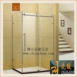 花键滑轮式淋浴房L型二固一活推拉式淋浴房Y3033
