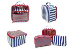 东莞禾昌春新款 韩版 三件套化妆包 箱手提女桶包 经典款摩登撞色系化妆袋