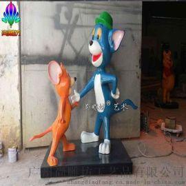 美国好莱坞迪斯尼主题卡通人物雕塑玻璃钢摆件 猫和老鼠创意造型卡通组合摆件工艺品
