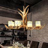 供应玛斯欧复古风格树脂鹿角吊灯8头MS-P2003-8带亚克力灯罩E14蜡烛灯泡LED超省电4w拉尾尖泡 酒店餐厅吊灯