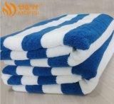 定做批发 酒店外贸毛巾 色织彩条纯棉浴巾 蓝白条沙滩海滩吸水巾