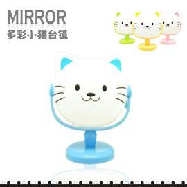 創意新品B097卡通貓可愛化妝鏡 大號卡通臺式鏡子 圓形塑料日用品