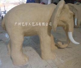 米黄砂岩大象雕刻 人造石喷水象雕塑 东南亚风格大象小品
