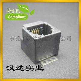 RJ11 4P4C 立式  180度立式全塑不带壳SMT JACK贴板式 电话接口