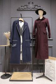 杭州品牌折扣女装批发 双面尼大衣女装折扣尾货