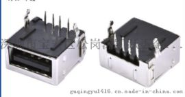 USB 2.0  A母全包单层插板 4P 弯脚 90度DIP