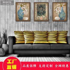 美式复古客厅装饰画沙发背景墙挂画餐厅油画有框三联壁画富贵花开