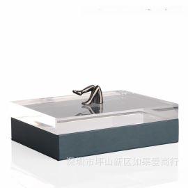 藏蓝色长方形皮革金色女人腿合金首饰盒饰品欧式创意客厅卧室摆件