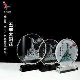 广州地标五羊雕像水晶纪念品摆件 广州特色工藝品定制