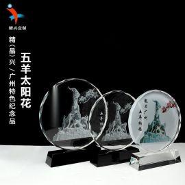 廣州地標五羊雕像水晶紀念品擺件 廣州特色工藝品定制