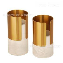 古铜色铁白色大理石花器瓶禅意日式中式北欧式创意样板间装饰摆件