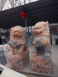 晚霞红石狮子 石狮子镇宅厂家 威猛雄壮实力的象征
