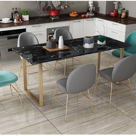 简约大理石家用餐桌 用餐桌长方形金属餐桌椅新品定制