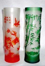 高级套皮浮雕玻璃花瓶