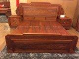 西安实木双人床 中式红木床厂家 供应老榆木罗汉床