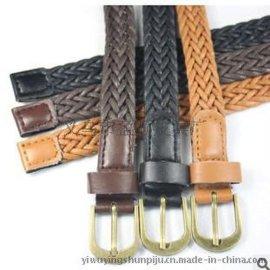 经典复古蜡绳服饰编织腰带 pu古铜合金针扣时尚手工编织女士皮带