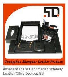 广州皮具厂 供应办公用品套装 定制皮质办公套装台垫笔筒纸巾盒
